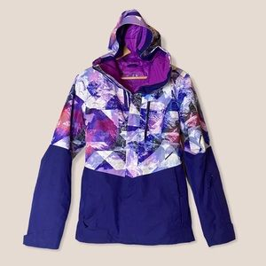 North face purple white abstract hooded ski coat